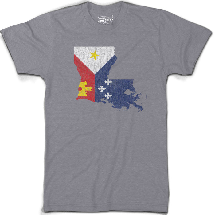 B&B Dry Goods Homegrown Louisiana Acadiana Outline T-Shirt - Grey