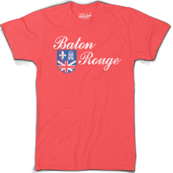 B&B Dry Goods Homegrown Louisiana Baton Rouge Flag T-Shirt - Red