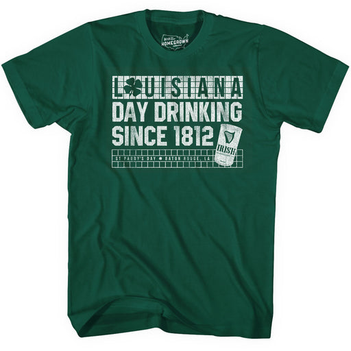 B&B Dry Goods Homegrown Louisiana Day Drinking St Paddy's Day T-Shirt - Evergreen