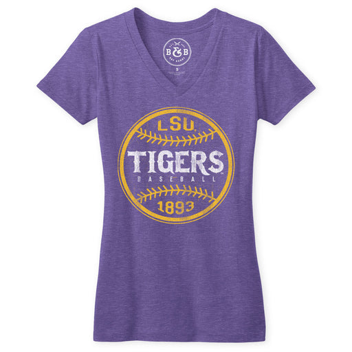 B&B Dry Goods LSU Tigers Baseball Laces Women's Tri-Blend V-Neck - Purple
