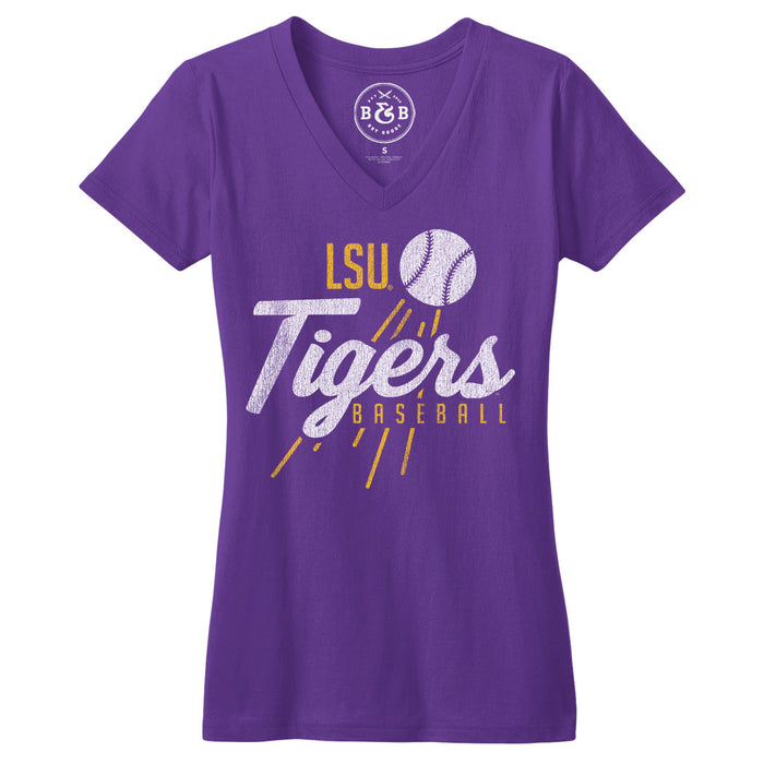 B&B Dry Goods LSU Tigers Baseball Homer Women's V-Neck T-Shirt - Purple