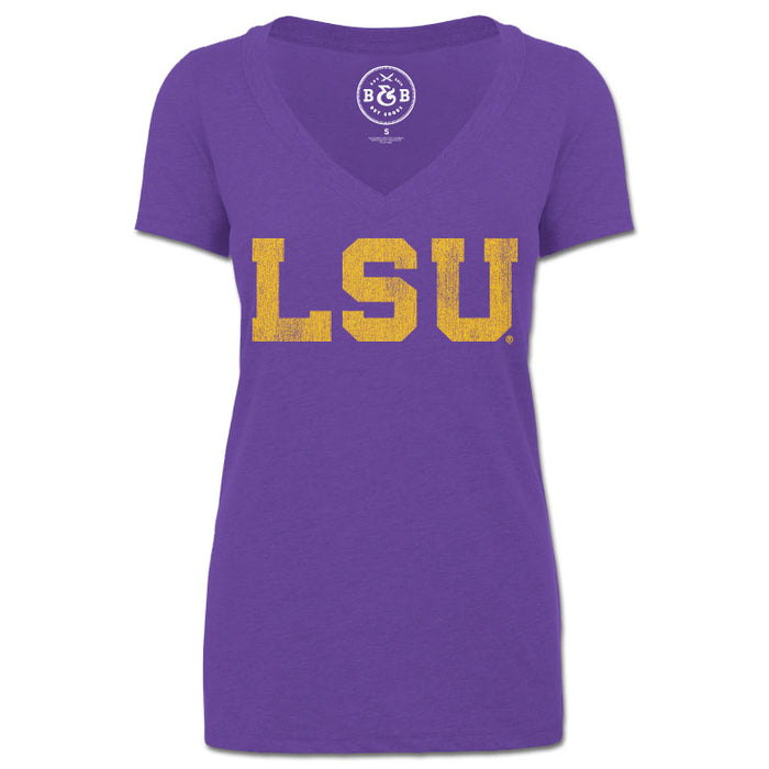 LSU Tigers Athletic Block V-Neck T-Shirt - Purple