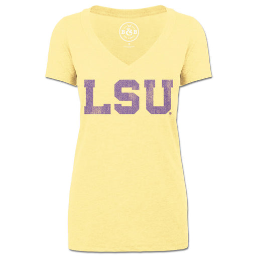 LSU Tigers Athletic Block V-Neck T-Shirt - Yellow