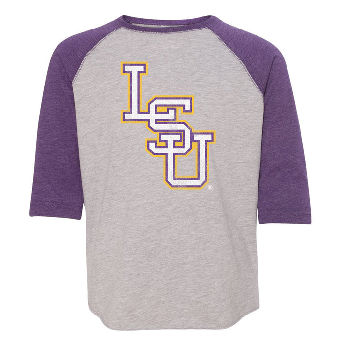 B&B Dry Goods LSU Tigers Baseball Interlock Toddler / Youth Raglan T-Shirt - Purple / Grey