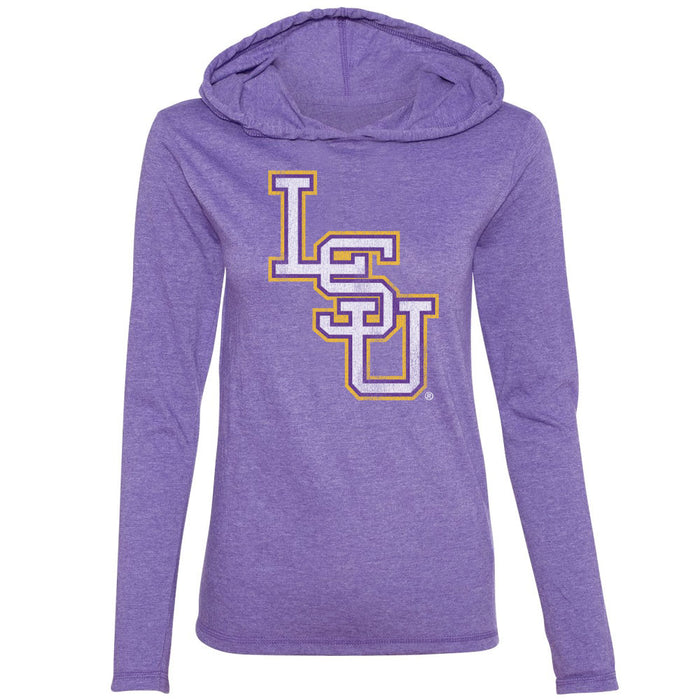 B&B Dry Goods LSU Tigers Baseball Interlock Women's Hooded Long Sleeve T-Shirt - Purple