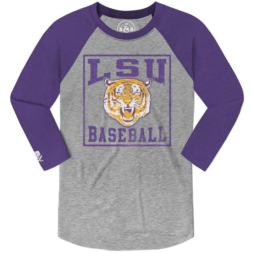 1d4406805aa3 B&B Dry Goods LSU Tigers Baseball The Box 3/4 Sleeve Raglan - Purple /