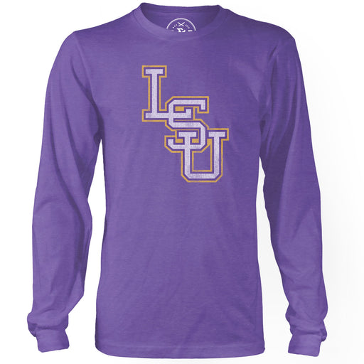 B&B Dry Goods LSU Tigers Baseball Interlock Long Sleeve T-Shirt - Purple
