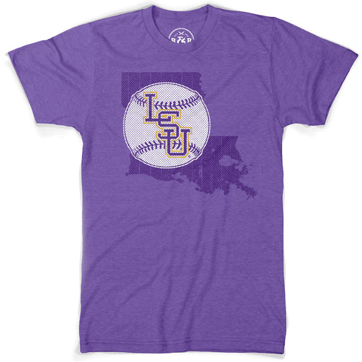 B&B Dry Goods LSU Tigers Baseball State Outline T-Shirt - Purple