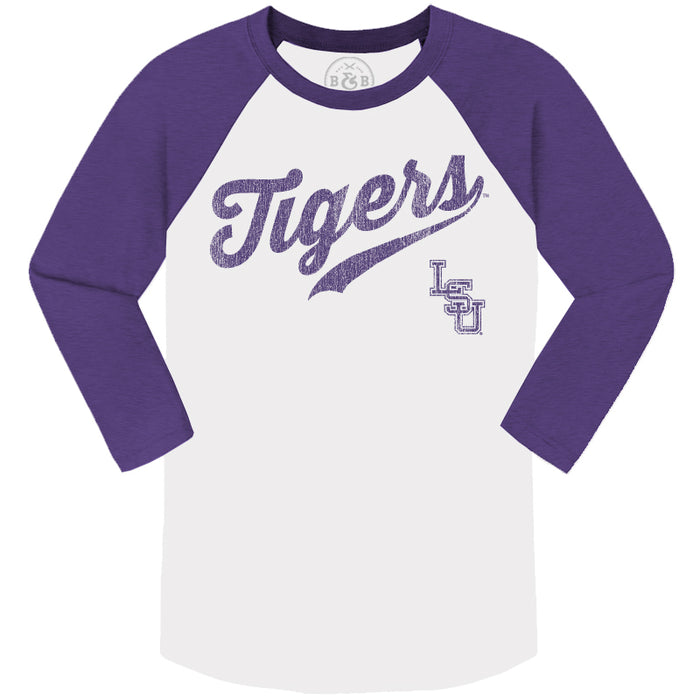 B&B Dry Goods LSU Tigers Baseball Skip Script 3/4 Sleeve Raglan - Purple / White