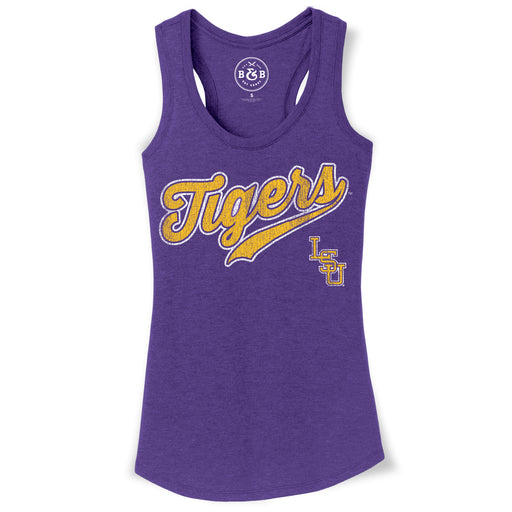 B&B Dry Goods LSU Tigers Baseball Skip Script Women's Tri-Blend Tank - Purple