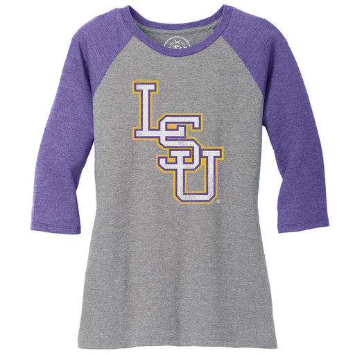 B&B Dry Goods LSU Tigers Baseball Interlock Women's 3/4 Sleeve Raglan - Purple / Grey