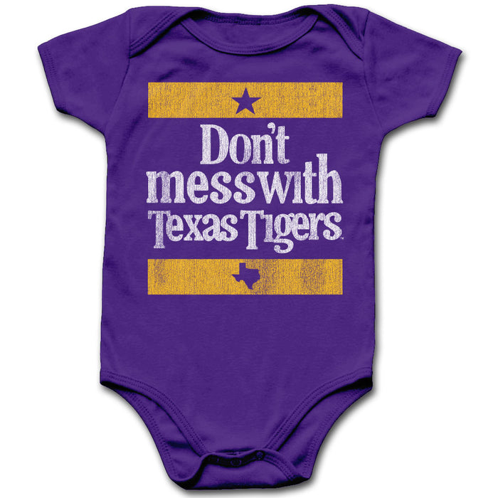 B&B Dry Goods LSU Tigers Don't Mess Wth Texas Onesie - Purple