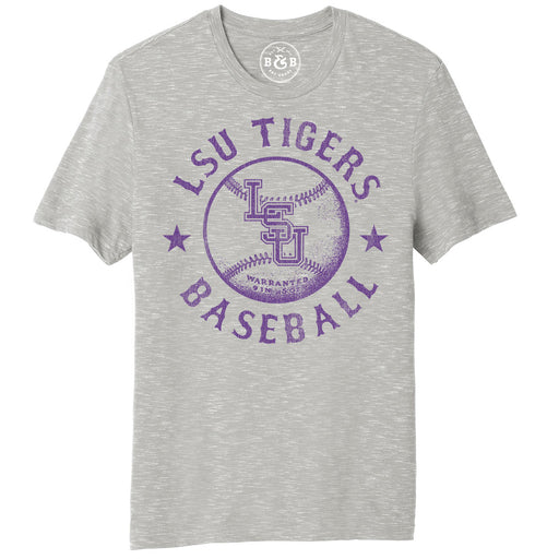 B&B Dry Goods LSU Tigers Baseball Warranted Slub T-Shirt - Grey