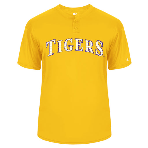 B&B Dry Goods LSU Tigers Baseball Performance 2 Button Jersey T-Shirt - Gold
