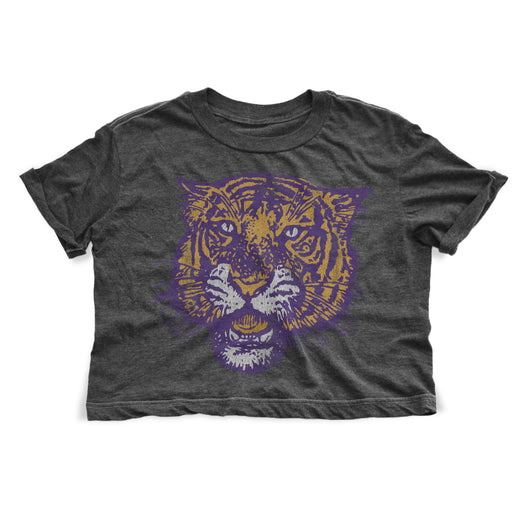 B&B Dry Goods LSU Tigers Women's 78 Tiger Retro Crop Top - Black