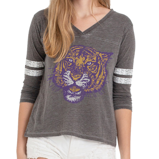 B&B Dry Goods LSU Tigers Women's 78 Tiger 3/4 Sleeve Football V-Neck - Black