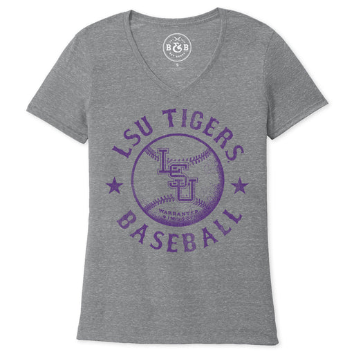 B&B Dry Goods LSU Tigers Baseball Warranted Women's Snow Heather V-Neck - Charcoal
