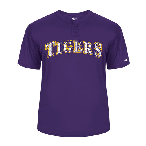 B&B Dry Goods LSU Tigers Baseball Performance 2 Button Youth Jersey T-Shirt - Purple