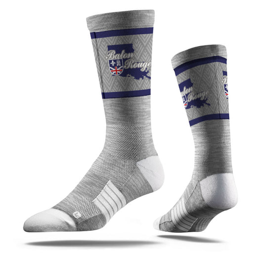 Louisiana Homegrown Baton Rouge Outline Socks Grey