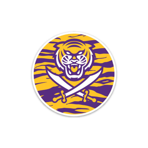 Bengals & Bandits Round 3x3 Die Cut Decal - Tiger Stripe