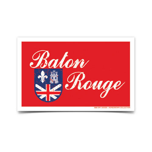 B&B Dry Goods Homegrown Baton Rouge Distressed Flag Decal