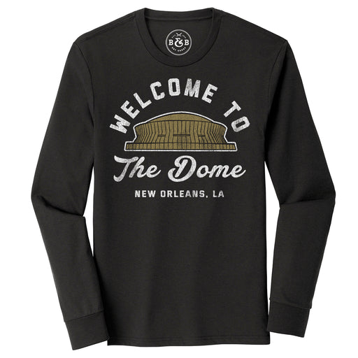 B&B Dry Goods Homegrown Louisiana NOLA Welcome To The Dome Long Sleeve Tri-Blend T-Shirt - Black Heather