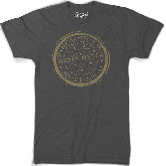 B&B Dry Goods Homegrown Louisiana Nola Water Meter T-Shirt - Heather Black