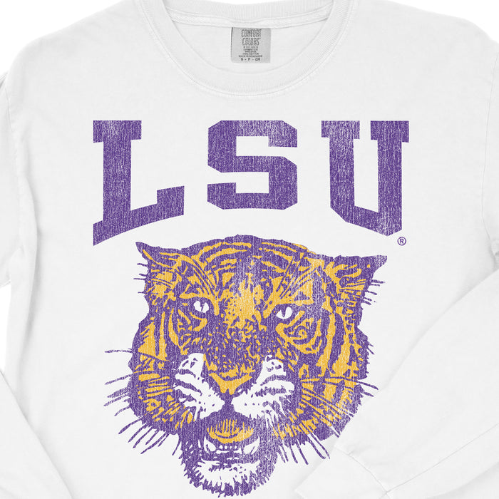 B&B Dry Goods LSU Tigers 78 Tiger Arch Garment Dyed Long Sleeve T-Shirt - White
