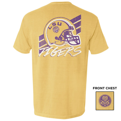 B&B Dry Goods LSU Tigers 90's Football Stripe Garment Dyed Pocket T-Shirt - Mustard