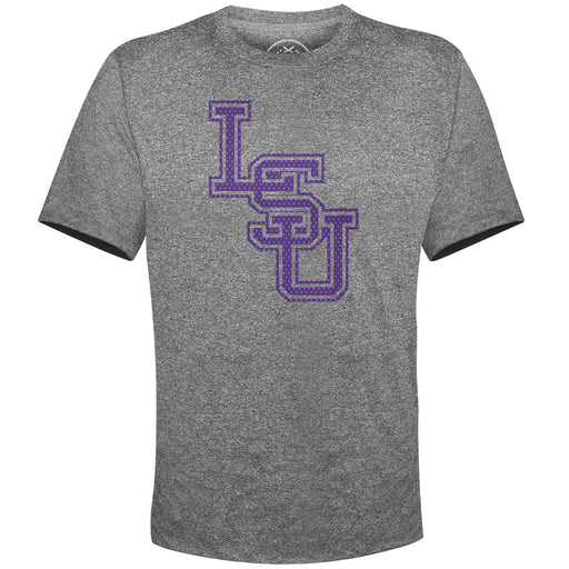 B&B Dry Goods LSU Tigers Baseball Mesh Interlock Performance Short Sleeve T-Shirt - Heather Black