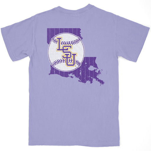 B&B Dry Goods LSU Tigers Baseball State Outline Garment Dyed Pocket T-Shirt - Violet