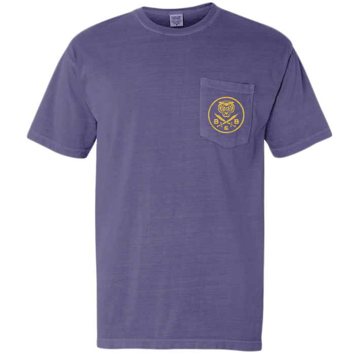 B&B Dry Goods LSU Tigers Retro Step Garment Dyed Pocket T-Shirt - Grape