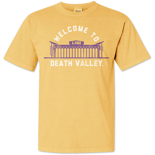 B&B Dry Goods LSU Tigers Welcome To Death Valley Garment Dyed T-Shirt - Mustard