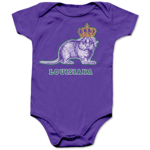 B&B Dry Goods Homegrown Louisiana Mardi Gras Nutria Infant Onesie - Purple