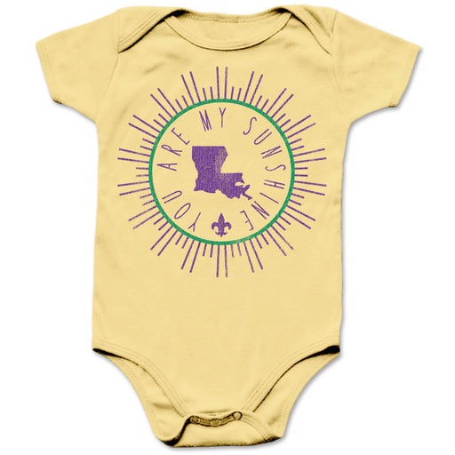 B&B Dry Goods Homegrown Louisiana Mardi Gras Sunshine Circle Infant Onesie - Yellow