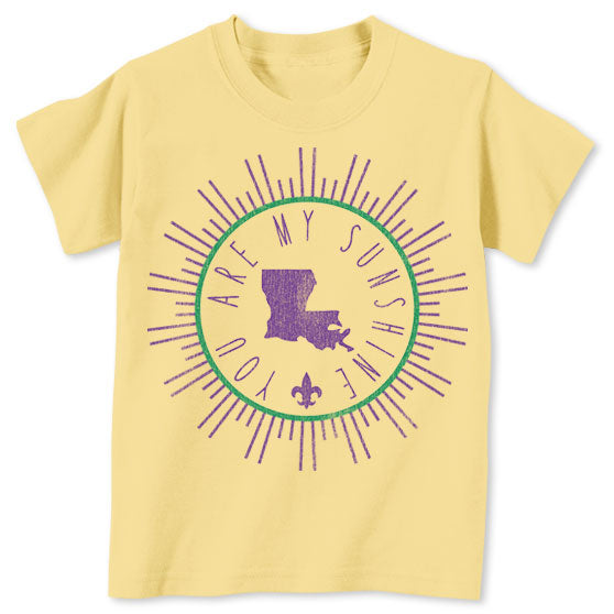 B&B Dry Goods Homegrown Louisiana Mardi Gras Sunshine Circle Toddler T-Shirt - Yellow