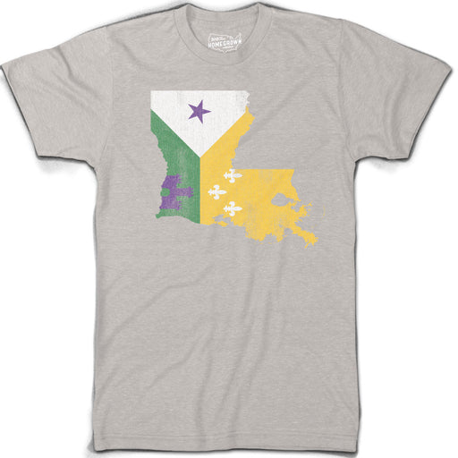 B&B Dry Goods Homegrown Louisiana Mardi Gras Acadiana Outline T-Shirt - Stone