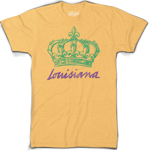 B&B Dry Goods Homegrown Louisiana Mardi Gras Crown T-Shirt - Heather Mustard