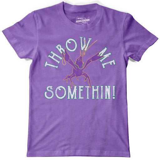 B&B Dry Goods Homegrown Louisiana Mardi Gras Throw Me Something Youth T-Shirt - Purple