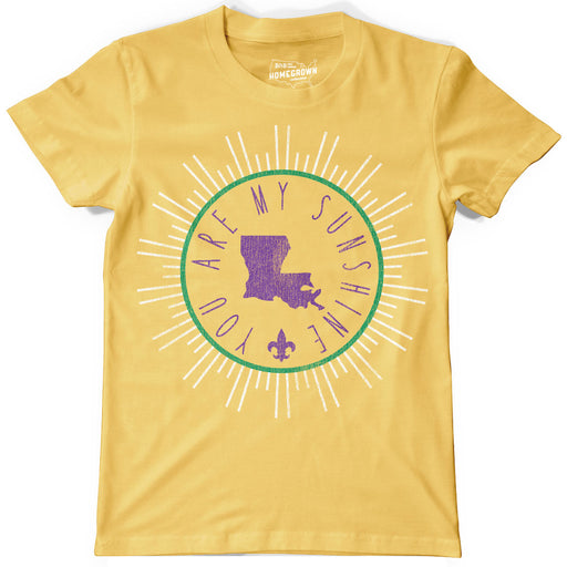B&B Dry Goods Homegrown Louisiana Mardi Gras Sunshine Circle Youth T-Shirt - Gold