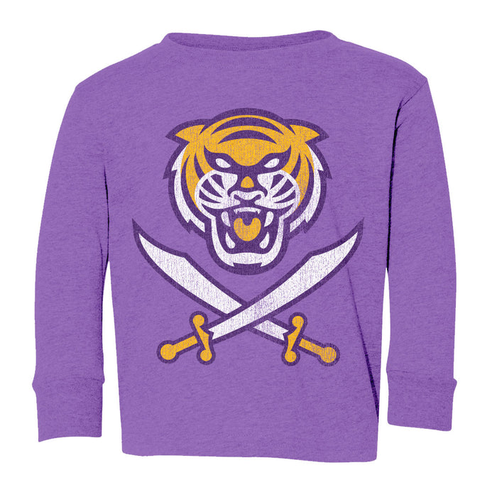 Bengals & Bandits Retro Brand Tri-Color Infant / Toddler / Kids Tri-Blend Long Sleeve T-Shirt - Purple