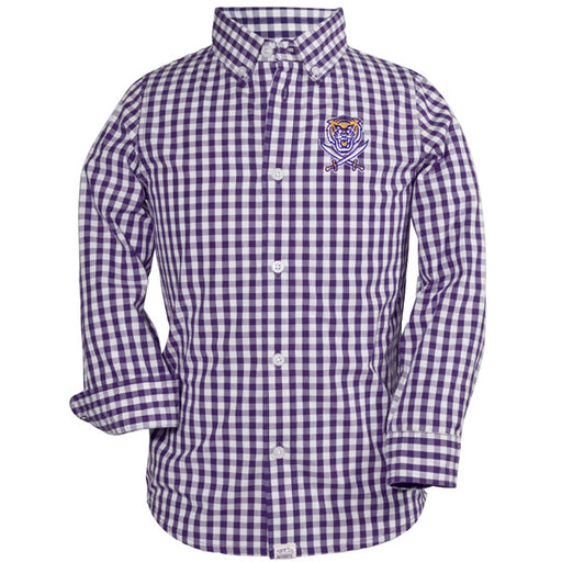 Bengals & Bandits Garb Logan Gingham Long Sleeve Kids Woven Shirt - Purple