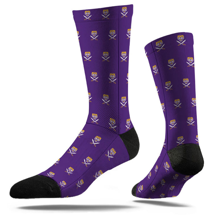Bengals & Bandits Strideline Flat Knit Pattern Crew Socks - Purple