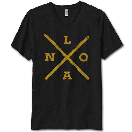 Dirty Coast Nola X Unisex Tri-Blend V-Neck T-Shirt - Black