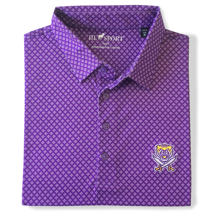Bengals & Bandits Horn Legend Faux Uni Performance Polo - Purple
