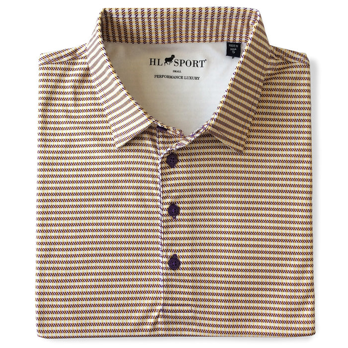 Horn Legend Houndstooth Performance Polo - Purple / Gold