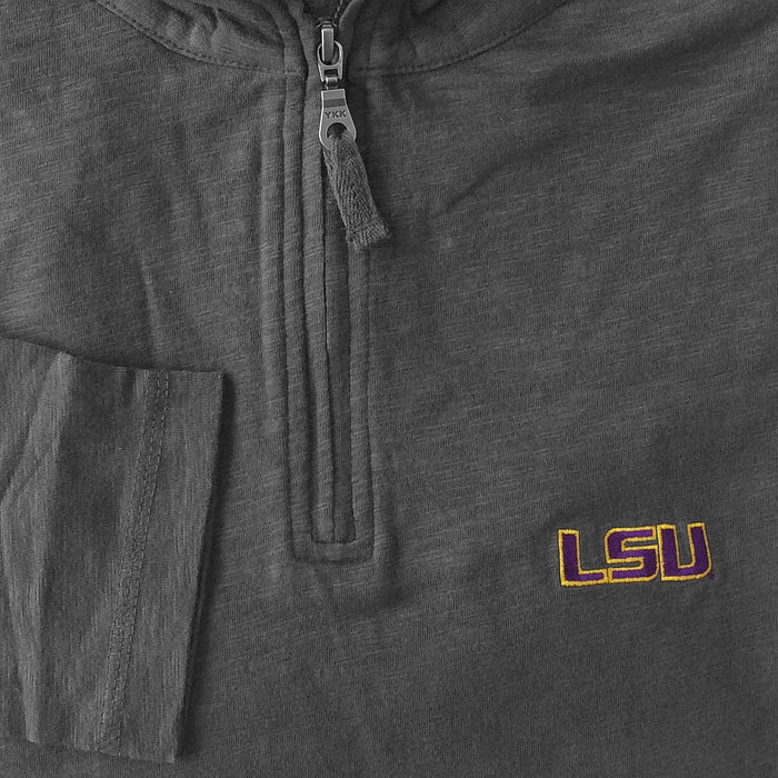 LSU Tigers Horn Legend 1/4 Zip Slub Cotton Lightweight Pullover - Charcoal
