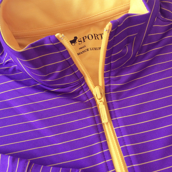 LSU Tigers Horn Legend 1/4 Zip Performance Stripe Pullover - Purple