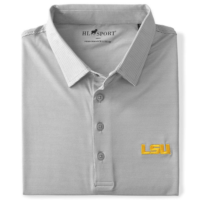 LSU Tigers Horn Legend 4 Way Even Stripe Stretch Performance Polo - Grey