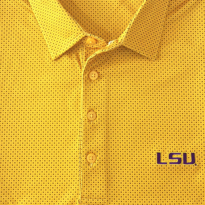 LSU Tigers Horn Legend Check Performance Polo - Gold